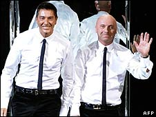 Designers Domenico Dolce (L) and Stefano Gabbana