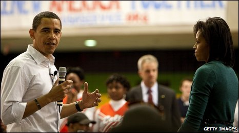 Mr Obama on a visit to a school, 19/01