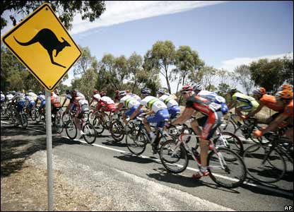 Cyclists in the first stage of the tour Down Under