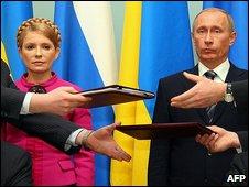 Ukrainian Prime Minister Yulia Tymoshenko and Russian Prime Minister Vladimir Putin