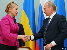 Russian Prime Minister Vladimir Putin, right, and his Ukrainian counterpart Yulia Tymoshenko