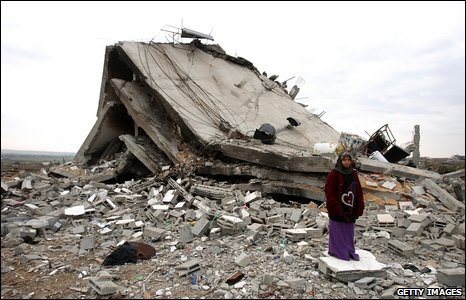 Destroyed house in Ezbat Abed Rabbu area, in Jabaliya, northern Gaza (20/01/2009)