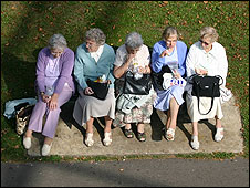 Elderly women on a bench