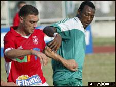Heartland's Kabiru Alausa (R) playing for former club Julius Berger