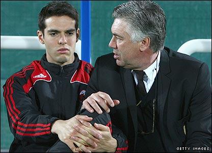 Kaka and AC Milan coach Carlo Ancelotti