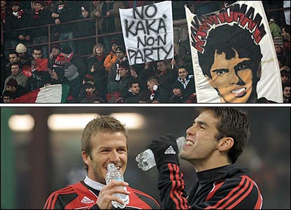 Milan fans, David Beckham and Kaka