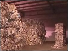 Piles of recycled paper