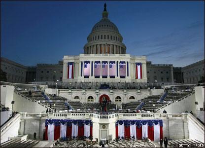 Капитолий, украшенный к инаугурации Барака Обамы