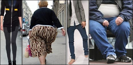 Thin woman, overweight woman, thin man, overweight man