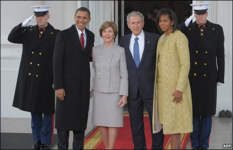 President-elect Barack Obama, First Lady Laura Bush, President George Bush and Michelle Obama on the steps of the White House