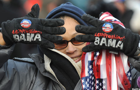 Woman with customised Obama gloves