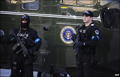 Armed security personnel at the Capitol in Washington DC