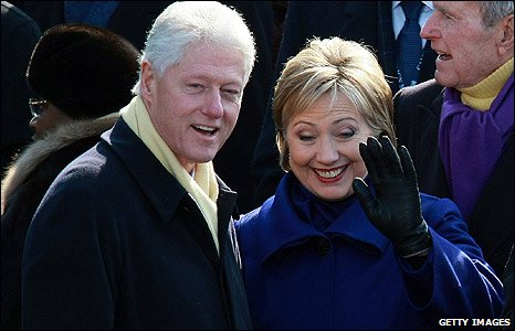 Bill and Hillary Clinton at the inaguration ceremony in Washington DC