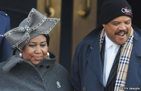 Aretha Franklin at the inauguration ceremony