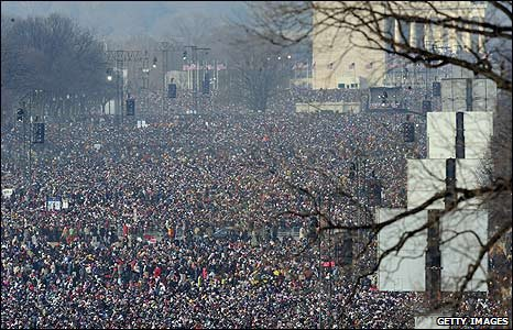 Crowds gather in the National Mall, Washington DC