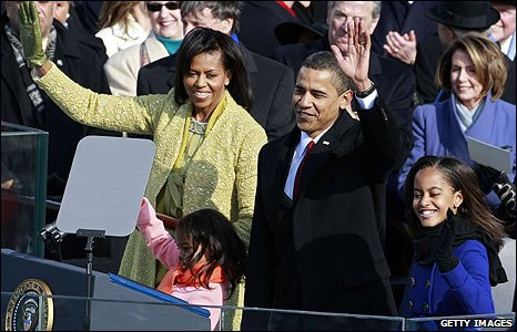 The Obama family on stage in Washington DC
