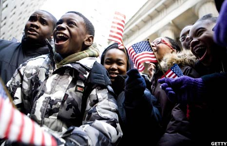 Children celebrate Barack Obama's inauguration