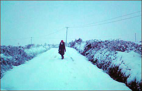 Western counties were especially affected. This photo was taken at 9am near Strabane by Claire Conway who says they were snowed in.