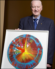 Sir Bobby Robson with Damien Hirst's spin painting