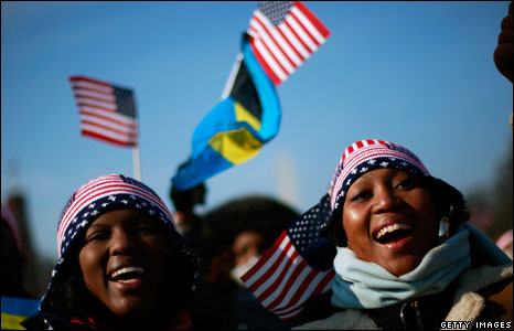 People celebrate during the inauguration of Barack Obama