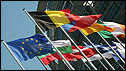 Flags at European Parliament in Strasbourg