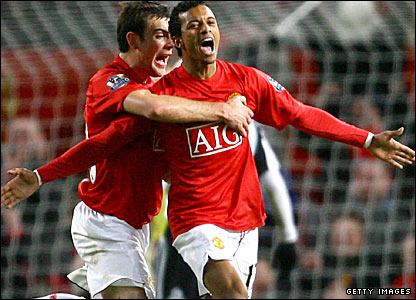 Nani celebrates his goal for Man Utd