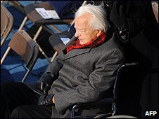 US Senator Robert Byrd attends the inauguration ceremony in Washington DC (20/01/2009)