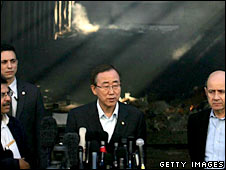 UN Secretary General Ban Ki-moon speaks during his visit to the destroyed UN compound in Gaza City. Photo: 20 January 2009