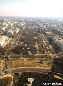 People gather on the National Mall