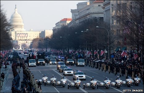 "President Barack Obama""s Inaugural Parade proceeds down Pennsylvania Avenue"