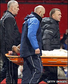 Anderson was stretchered off at the final whistle