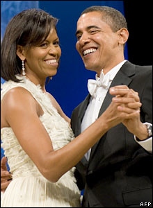 Michelle Obama and Barack Obama at the Inaugural Ball in Washington
