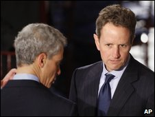 White House Chief of Staff Rahm Emanuel (left) with Tim Geithner at the inaugural lunch, 20 January