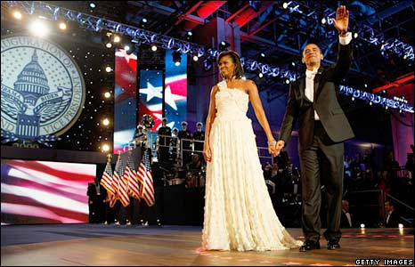 Barack Obama and Michelle Obama attend the Neighborhood Inaugural Ball in Washington