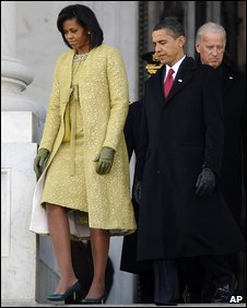 Michelle and Barack Obama (with Joe Biden in background) at the US Capitol, 20 January