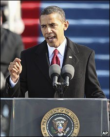 President Barack Obama giving his inaugural speech, 20th Jan