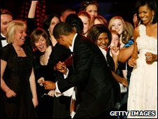 Barack Obama dances with guests at the Neighbourhood Ball