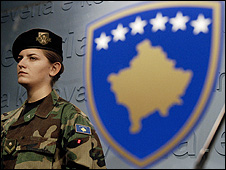 A member of the Kosovo Security Force (KSF) in Pristina, file pic