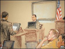 Sketch of a hearing for Canadian defendant Omar Khadr on 20 January