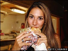 Model eating a kebab