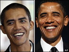 Obama &quot;lookalike&quot; Ilham Anas (left) and the real Barack Obama 