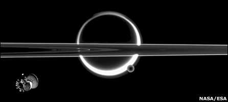 Artist's concept: TSSM orbiter viewed against Saturn's rings with Titan in the background (Nasa/Esa)