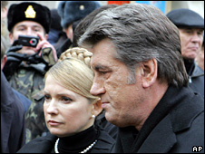 Yulia Tymoshenko and Viktor Yushchenko (25 December 2008)