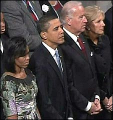 The Obamas and Bidens attend a church service