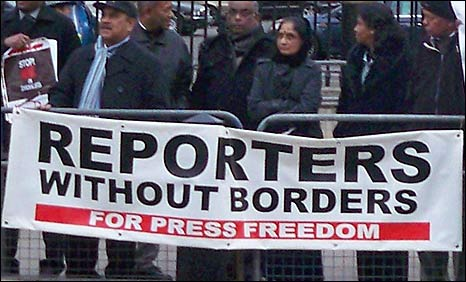 Reporters Without Borders demonstration in London