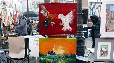 Art on sale in Montmartre