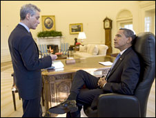 President Obama in the Oval Office with White House Chief of Staff Rahm Emanuel
