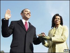 Barack and Michelle Obama as the oath was administered on Tuesday