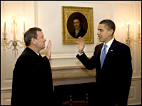 Барак Обама повторно принимает присягу президента