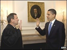 Chief Justice John Roberts and Barack Obama